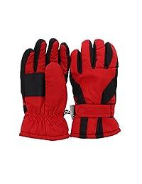 Waterproof Slant Design Ski Gloves for Youth - Red