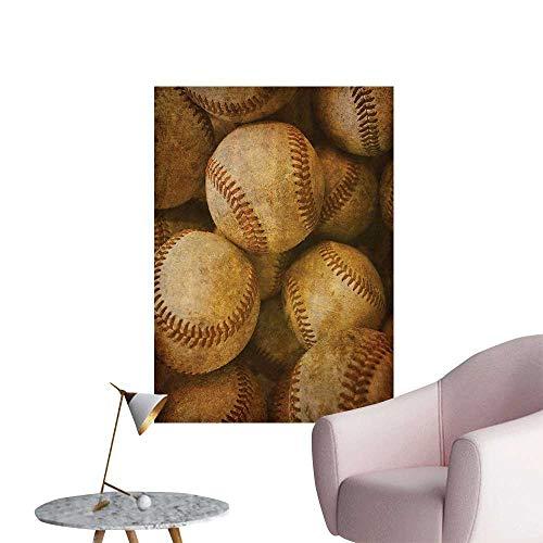 Erin Leather (Wall Stickers for Living Room Baseball Backgorund American Sports Theme Nostalgic Leather Retro Balls Artwork Vinyl Wall Stickers Print,12