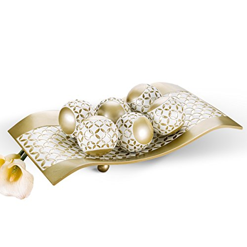 Creative Scents Schonwerk Diamond Lattice Decorative Table Decorations, Centerpieces for Dining/Living Room Table Decor Dish - Best Wedding/Birthday Gift (Gold & White)