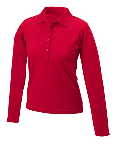 Polo Confortevole sleeved Lunga Manica Long LadiesElastic Red 2store24 tf6zqwdnt