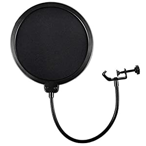 Microphone Pop Filter For Blue Yeti and Any Other Microphone Dual Layered Wind Pop Screen With Flexible 360° Gooseneck Clip Stabilizing Arm By Earamble