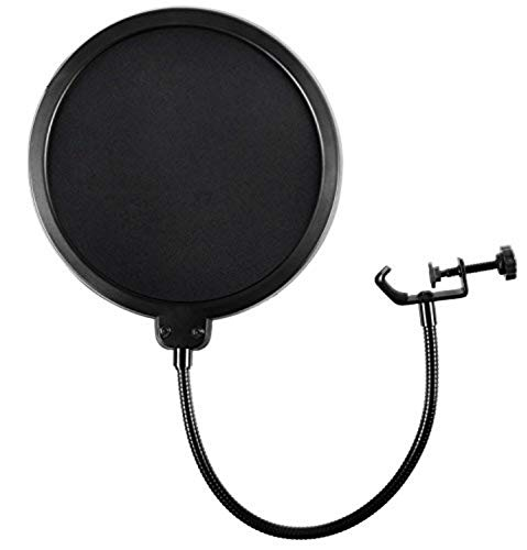 (Microphone Pop Filter For Blue Yeti and Any Other Microphone Dual Layered Wind Pop Screen With Flexible 360° Gooseneck Clip Stabilizing Arm By Earamble)