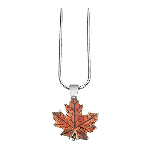 Danforth - Maple Leaf/Autumn Necklace - Pewter - 18 Inch Sterling Snake Chain - Made in USA