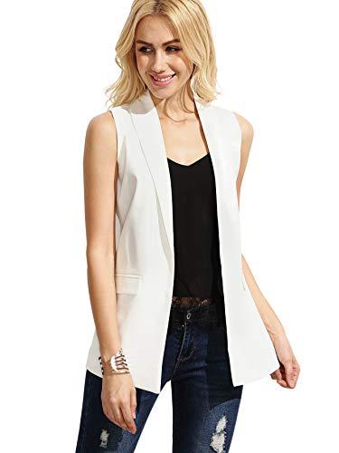 Floerns Women's Shawl Lapel Sleeveless Open Front Blazer with Pockets White -
