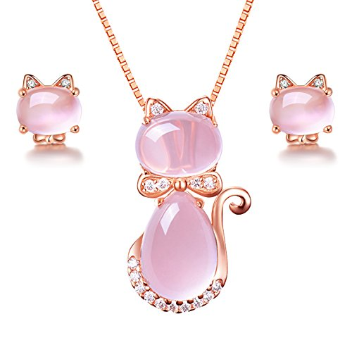Uloveido Cute Cat Shape Light Pink Crystal Jewelry Set for Women, Studs Earrings and Pendant Necklace for Teen Girls Y404
