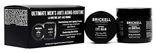 Brickell Men's Ultimate Anti-Aging Routine, Anti-Wrinkle Night Face Cream and Eye Cream to Reduce Puffiness, Wrinkles, Dark Circles, Under Eye Bags, Natural and Organic, Unscented (Best Anti Aging Routine)