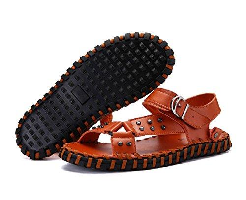 Antideslizantes Brown Abierta Transpirables con Zapatos Confortables Sandalias Punta Hombres para Joker Romanos Verano Zapatos De Xxw6qg
