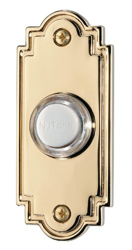 NuTone PB15LPB Wired Lighted Door Chime Push Button, Polished Brass