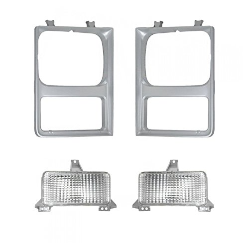Headlight Lamp & Bezel Parking Light Kit Set of 4 for 85-88 Chevy GMC Pickup SUV ()