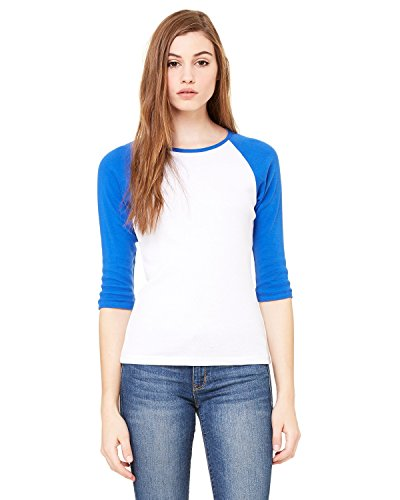 Bella + Canvas Ladies Baby Rib 3/4-Sleeve Contrast Raglan T-Shirt - WHITE/ TR ROYAL - L - (Style # B2000 - Original Label)