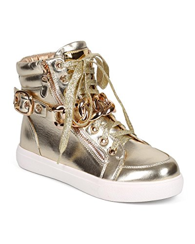 Liliana DA26 Women Metallic Chain High Top Platform Zip Sneaker – Gold Metallic (Size: 7.0)