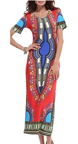 Jaycargogo Femmes Court Manches Africaine Imprimé Dashiki Rouge Longue Robe Moulante