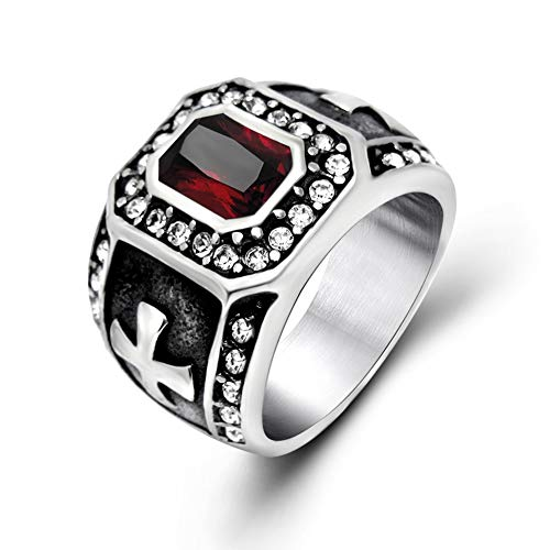 SAINTHERO Men Women Retro Square Red Gem Stone Gothic Cross Forefinger Stainless Steel CZ Ring ()