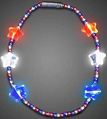 (Light Up Flashing Red, White, and Blue Star Bead Necklace - Just Perfect for The 4th of July or That Next Party! Orders of 2 or More get F R E E - E X T R A S ! ! !)