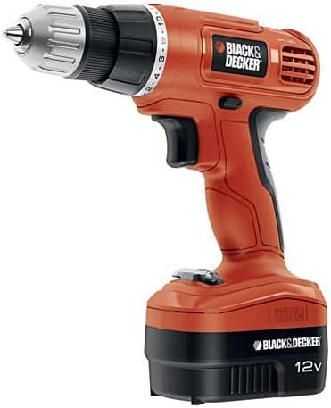 Black & Decker GCO1200C 12-Volt Cordless Drill with Over Molds, Orange and Black