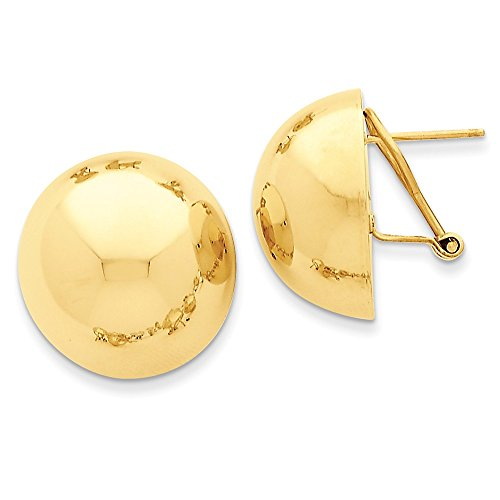 - Omega Clip Half Ball Earrings in Polished Genuine 14k Yellow Gold - 20 mm