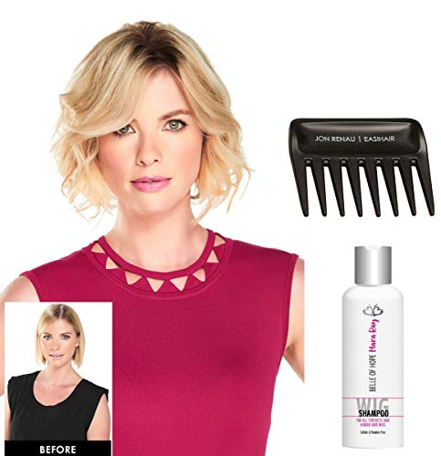 "3PC Bundle: 8"" EasiPart Heat Defiant (HD) Topper by Jon Renau, Mara Ray Luxury Synthetic & Human Hair Shampoo and Wig Tooth Comb (12FS8)"