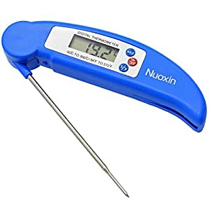 Digital Instant Read Food Meat Cooking Thermometer Portable Ultra Fast Electronic Barbecue Tools with Probe LCD Screen Auto Off for BBQ Kitchen Grill Oven Poultry Milk Candy Bath Water (Blue)
