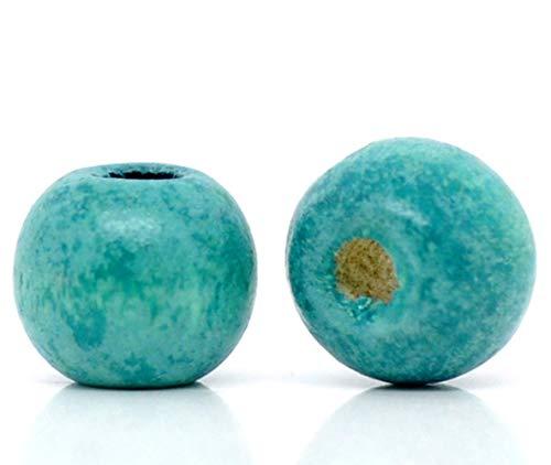 (600 Turquoise Wood Beads Bulk 10 x 9mm Round Wood Bead with 3mm Large Hole)
