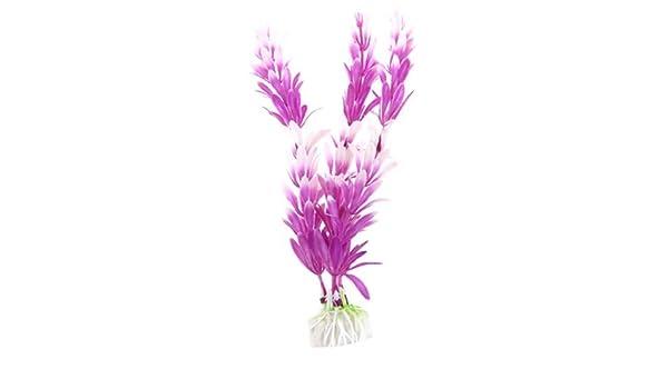 Amazon.com : eDealMax 10 piezas de plástico de acuario artificiales Con plantas de ornato, DE 8 pulgadas, Blanco/púrpura : Pet Supplies