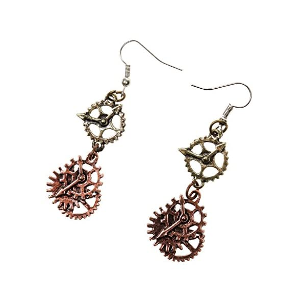 SM SunniMix Antique Style Key Gear Necklace with Chain and Steampunk Dangle Earrings 5