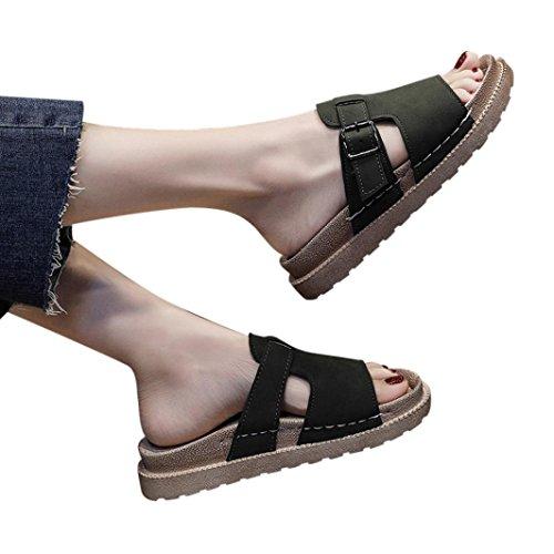 Flip Flop Glue - Hot Sale Summer Style Flat Slippers Thick-Bottomed Non-Slip Belt-Buckle Slipper Jushye (37, Army Green)