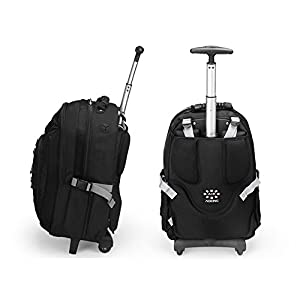 AOKING 20/22 Inch Water Resistant Travel School Business Rolling Wheeled Backpack with Laptop Compartment Black 20""