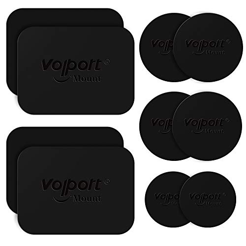 Metal Plate for Phone Magnet, 8 Pack Volport MagicPlate with 3M Adhesive Replacement for Magnetic Phone Car Mount Holder & Cradle & Stand (Vent/CD/Windshield/Dashboard) - Rectangle and Round