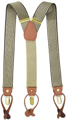 Geoffrey Beene Men's Vertical Stripe Suspender,Khaki/Grey,One Size