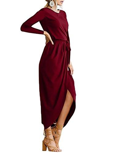 ... Damen Kleider Elegant Herbst Festlich Kleid Lange Ärmel O Ausschnitt  Geöffnete Gabel Maxikleider Riemchen Lang Abiballkleid ... 03b1d28f2e