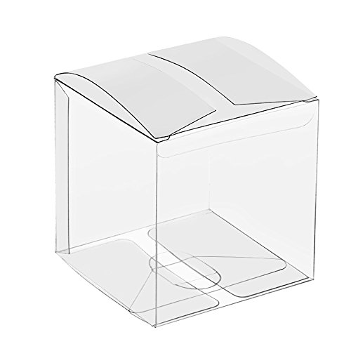 Lucky Monet 25/50/100 Packs Clear Gift Boxes, Clear PET Plastic Boxes Transparent Packing Box Favor Square Boxes for Thanksgiving, Christmas, Wedding, Party, Birthday, Candy, Coffee & Tea, Jewelry
