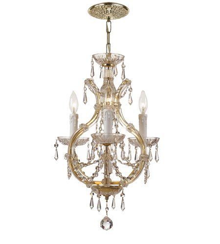 Mini Chandeliers 3 Light With Clear Crystal Clear Hand Cut Gold size 12 in 180 Watts - World of Lighting (Gold Mini Chandeliers Crystal)