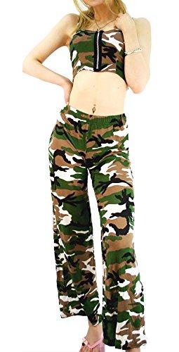 Sans Imprimé 21fashion Vert Print Pantalon Army Femme Manche qpf5UExwB
