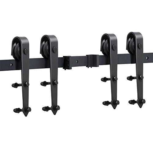 go2buy 16FT Country Antique Steel Sliding Barn Wood Door Hardware Track Set Black free shipping