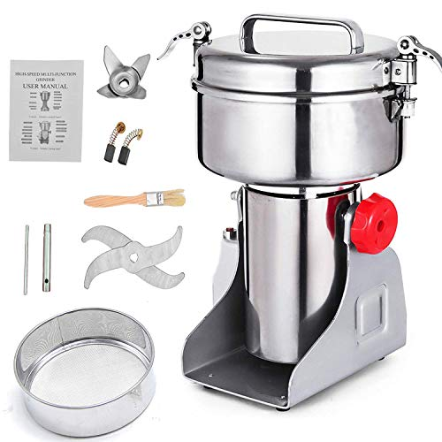 (Electric Grain Mill Grinder 453g(1lb) 110V Swing Type High Speed and High Power Herb Grain Spice Grinder Cereal Salt Pepper Coffee Grinder Flour Powder Machine)