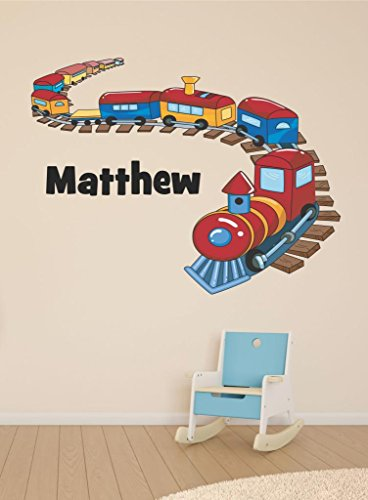 (Train Personalized Custom Name Childrens Nursery Vinyl Wall Decal)