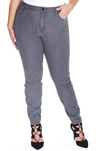 Plus Size The Skinny Jean in Grey Grey, Size 18