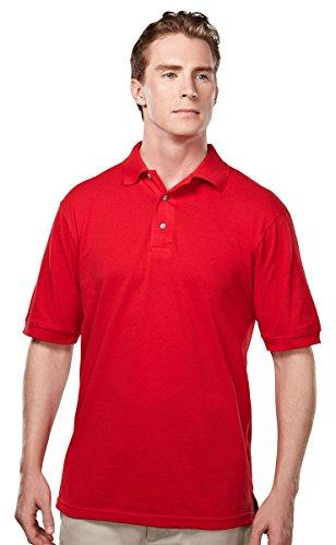Tri-Mountain 095 Mens Easy care short sleeve pique golf shirt - Red - (Easy Care Pique Polo)