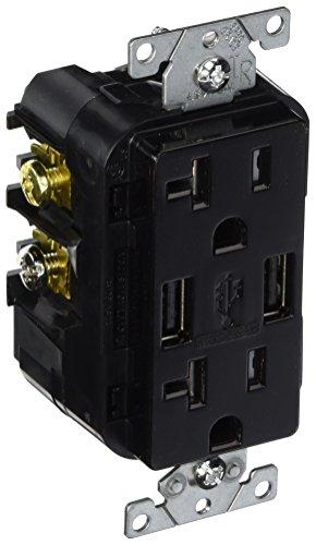 Leviton T5832-E 20-Amp USB Charger/Tamper Resistant Duplex Receptacle, Black (Black Outlet Charger Usb)