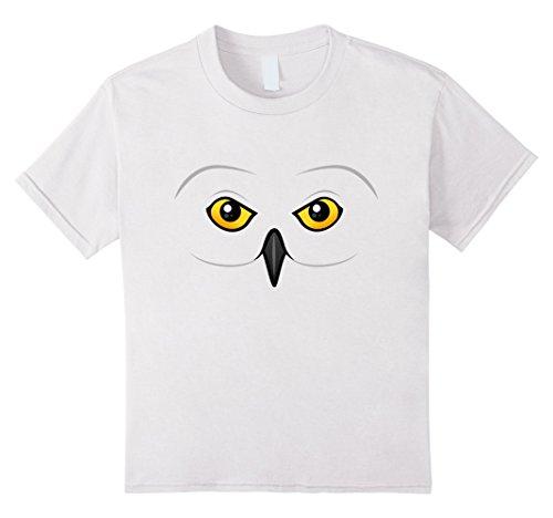 Cute Owl Halloween Costumes (Kids Snowy Owl Face Halloween Costume T-Shirt | Cute Cartoon Owl 8 White)