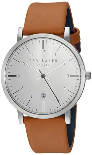Ted Baker Men's 'SAMUEL' Quartz Stainless Steel and Leather Casual Watch, Color:Silver-Toned (Model: TE15088002)