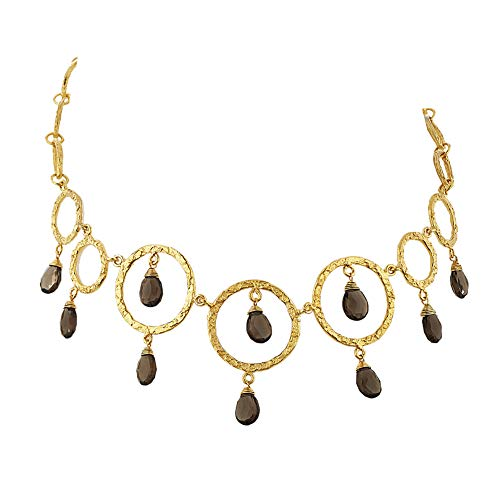 (Chuvora 18K Gold-Plated Open Circles with Dangling Smoky Quartz Gemstones Necklace, 16-18 inches)
