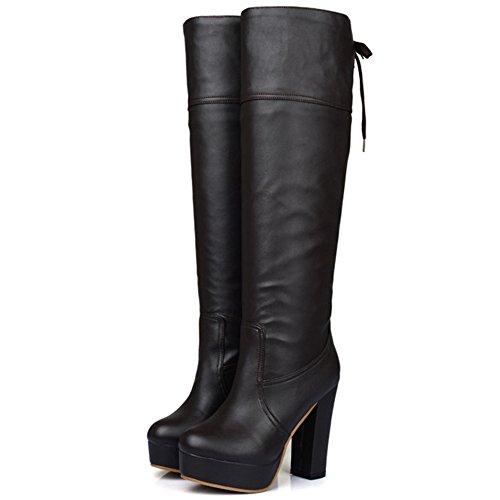 COOLCEPT Damen Jugend Trend Einfachen Schuhen mit Hohen Absätzen Kniehohe Sexy Stiefel Braun