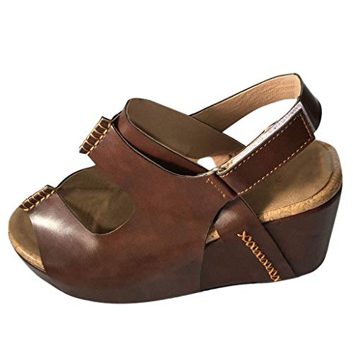 6 3/4 Inch Sexy Spike - Yucode Women Hollow Across The Top Open Toe Ankle Strap Wedge Platform Sandals High Heels Slip-On Evening Party Shoes Brown