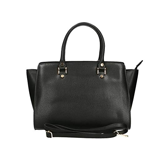 Chicca 32x24x17 In Bag En De Negro Piel Mano Genuina Cm Bolso Italy Borse Made rrPHqa