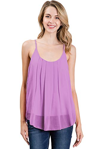 CLOVERY Women Loose Casual Summer Pleated Flowy Sleeveless Camisole Tank Tops Lilac 3X