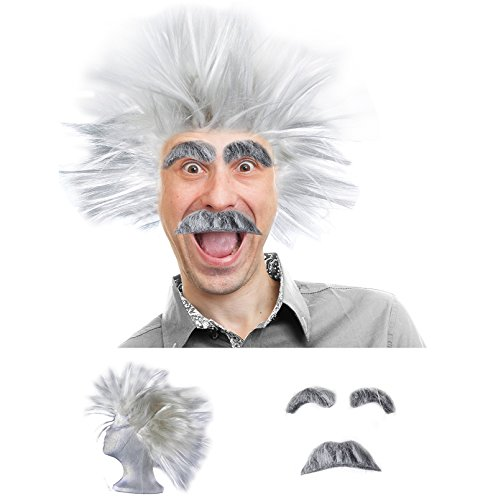 Mad Scientist Costume - Scientist Costume - Scientist Wig - Physicist Costume - (3 Piece Set) by Tigerdoe -