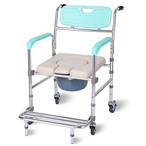 GFYWZ Healthcare Folding Commode Chair,Portable Fixed Height Mobile Over Toilet Seat,With Wheels Shower Chair (Over Commode)