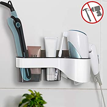 VIEFIN Adhesive Hair Dryer Holder Wall Mount,No Drilling Hair Dryer&Styling Tools Organizer Storage,Blow Dryer Hair Curler Brush Cleanser Rack(Large, Gray)