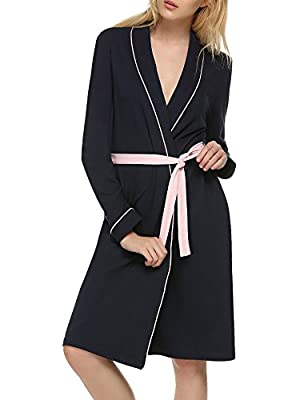 Ekouaer Women's Cotton Bathrobe Lightweight Long Sleeve Sleepwear Kimono Loungwear